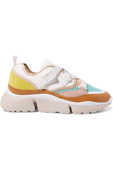 24418968928 Chloé - Sonnie canvas, mesh, suede and leather sneakers in 2019 ...
