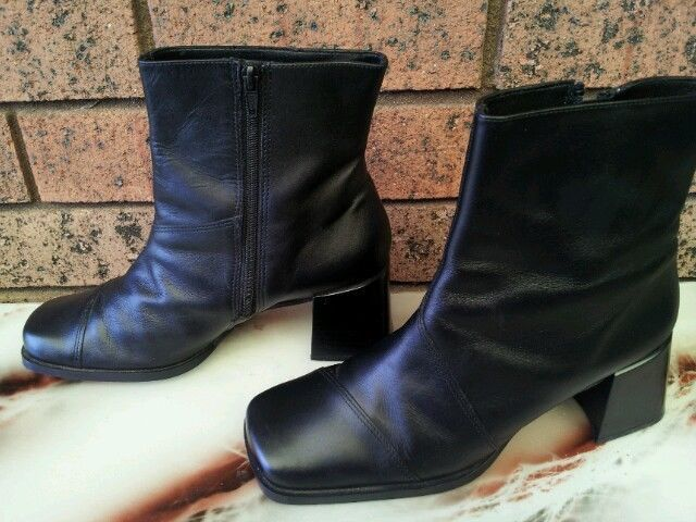GINO PAOLI easiflex ladies black leather shoes ankle boots size 7 ...
