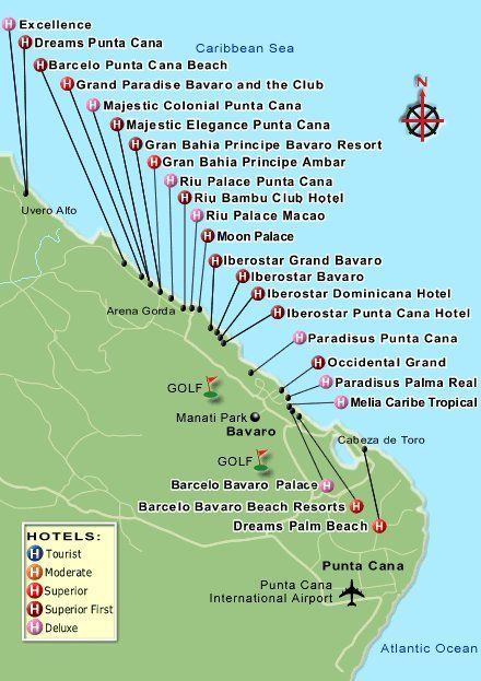 Dominican Republic Resorts Map Punta Cana And Several Other Cities In