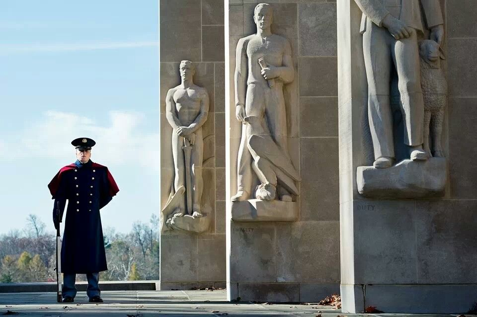 Cadet at the War Memorial at Virginia Tech War memorial