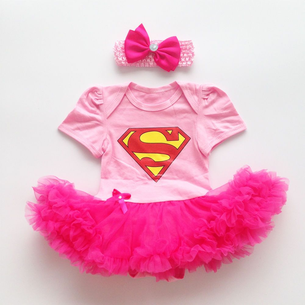 83e97faf4 Baby Girl Pink Superman Romper Bodysuit Dress Clothes Party Photo Outfits  #DressyEverydayHoliday
