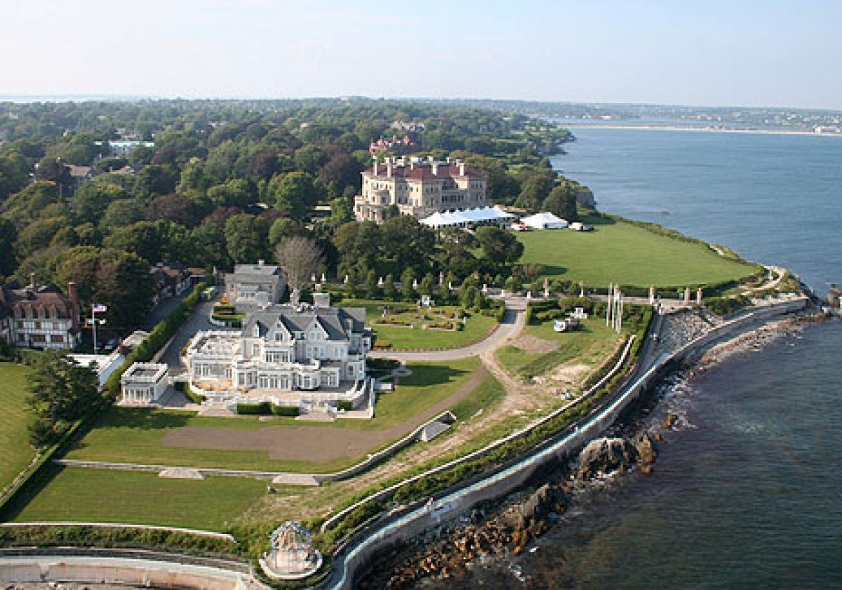 A helicopter view of The Breakers mansion in Newport, R.I.