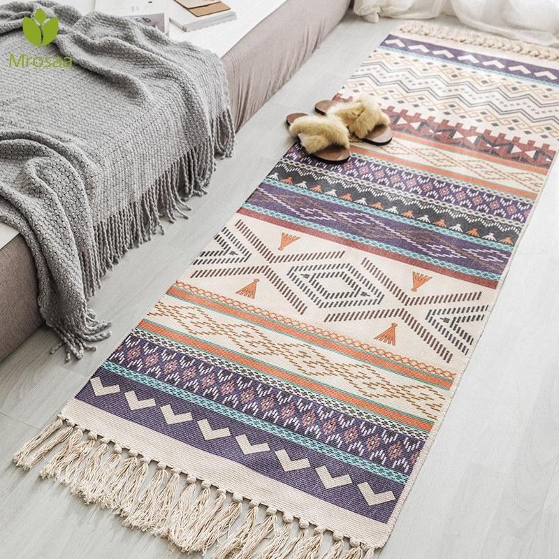 Retro Bohemian Hand Woven Cotton Linen Carpet Tassel Rug