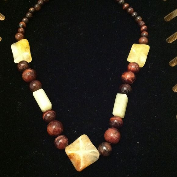 Genuine Jade and Tigers Eye necklace Gorgeous genuine Jade and genuine Tigers Eye stones necklace.  This is a one of a kind piece. Jewelry Necklaces
