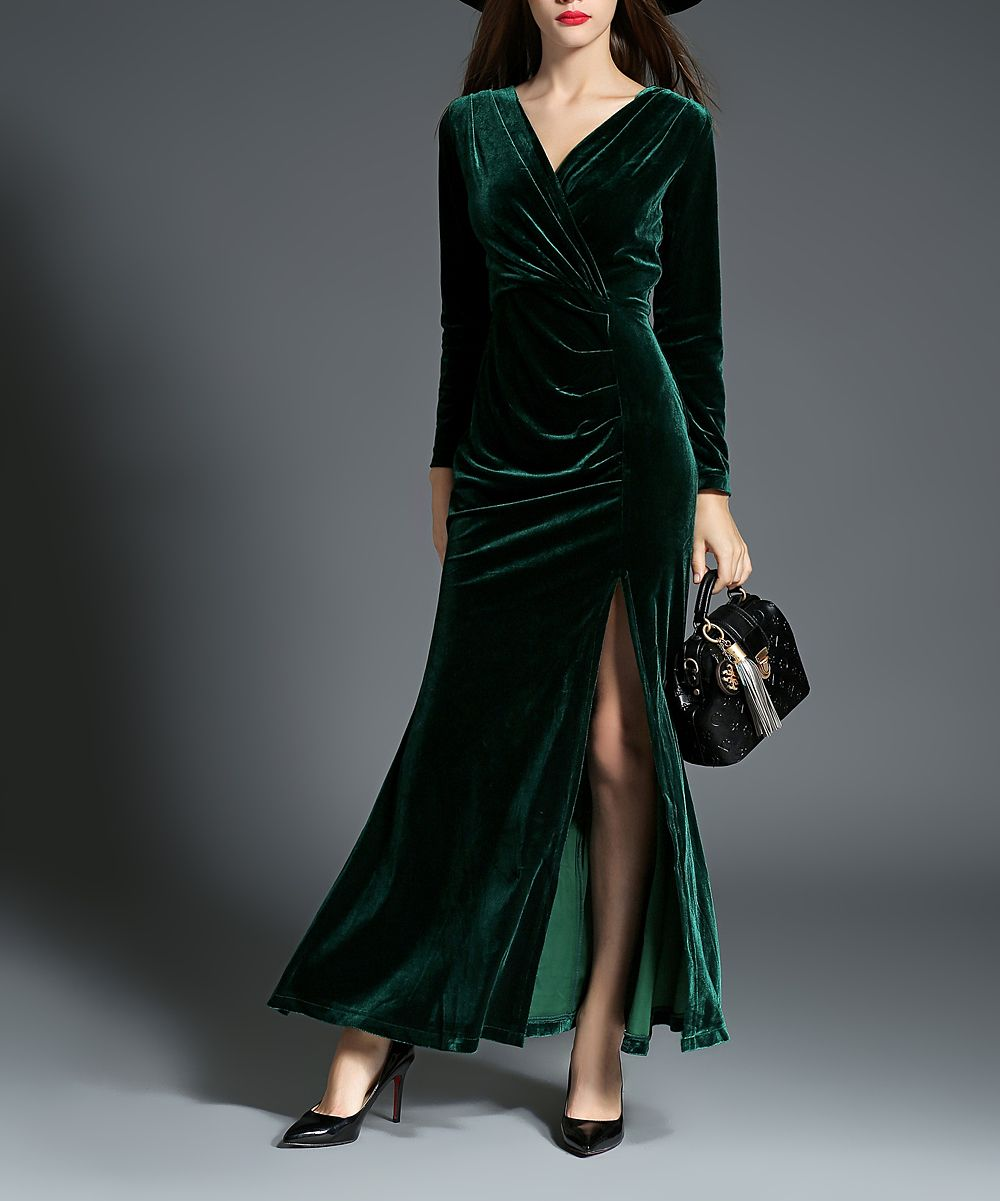 Green velvet maxi dress beautiful clothes pinterest green