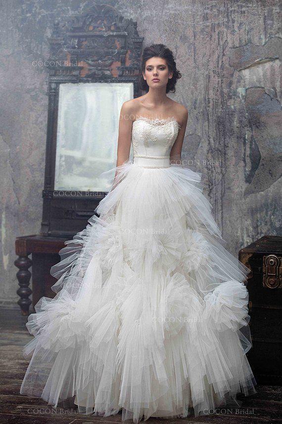"Wedding dress, Designer wedding dress, gown, Tulle Wedding Gown with lace, Modern wedding dress Stylish Wedding dress- ""Nashira"""