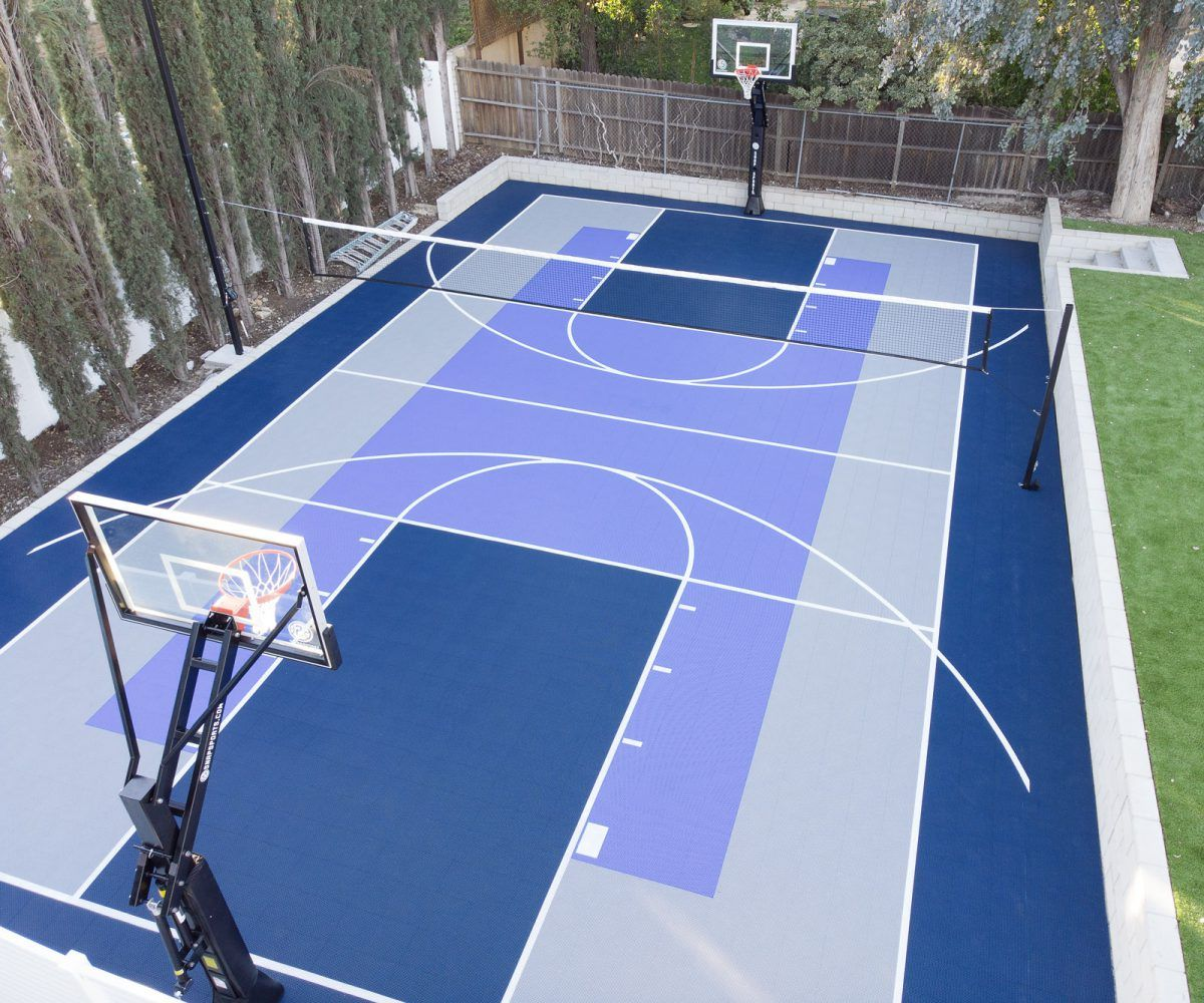 Gallery Of Backyard Court And Home Gym Installations Featuring Snapsports Backyard Court Home Basketball Court Basketball Court Backyard Mini backyard tennis court