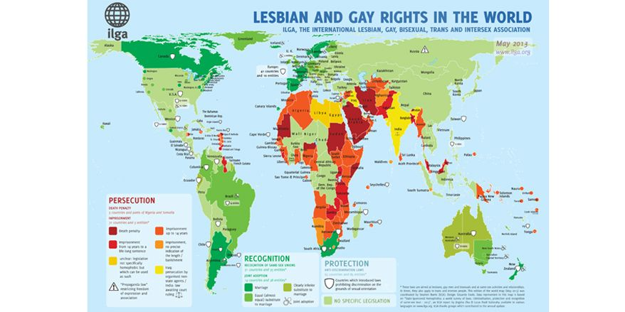 LGBT rights around the world. Over 40% living somewhere that homosexuality is punished by imprisonment or death