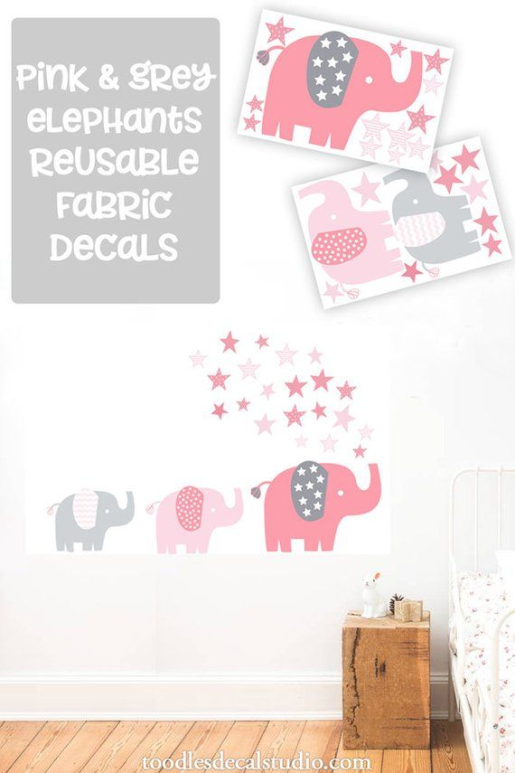 elephant wall decal for girls room, pink elephant fabric decals