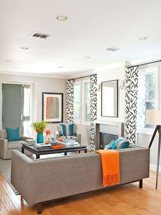 Turquoise Orange And Grey Living Room Gray With Accents