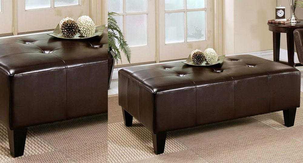 Abbyson Living\'s Frankfurt Leather Rectangle Ottoman | Lounge ...