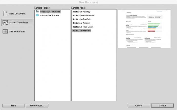 Starter Templates Dreamweaver Cc