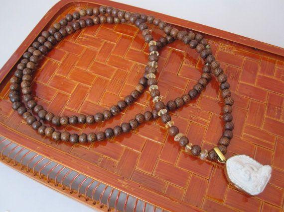 Sandalwood and Citrine Necklace with Buddha by Stone and Stem.  #buddha #mala #etsy #handmade #bohochic
