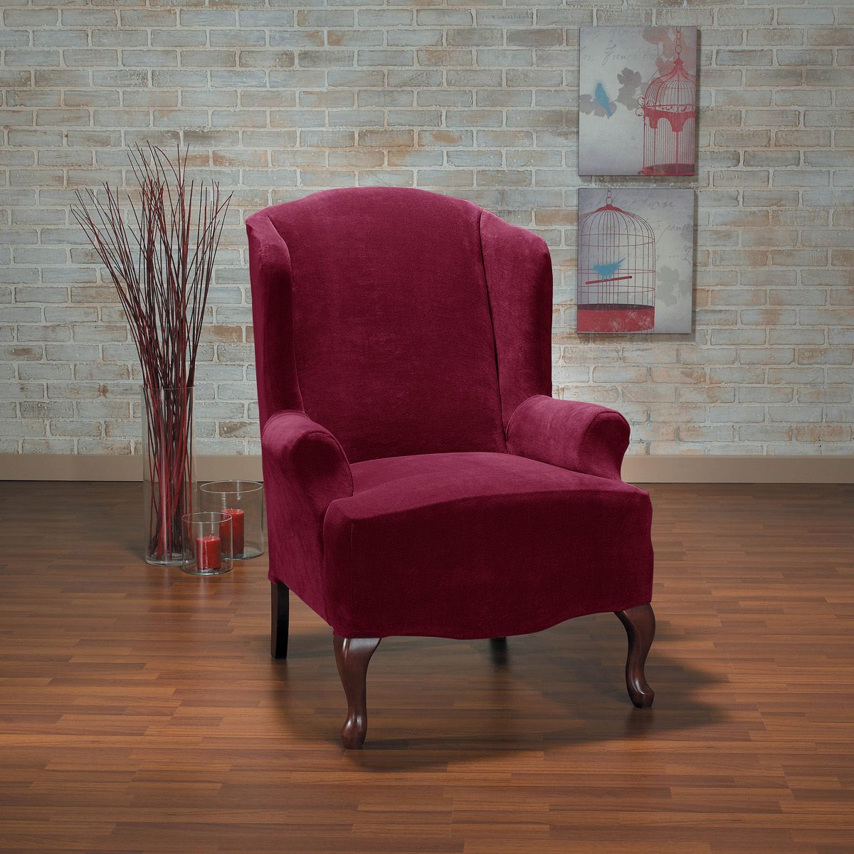 Sure Fit Hanover Plush One Piece Stretch Wing Back Slipcover (