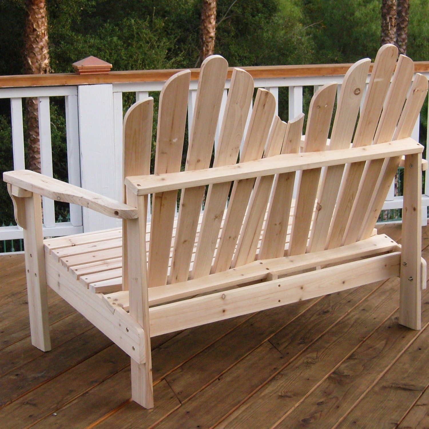 This 2 Seat Adirondack Style Outdoor Cedar Wood Garden Bench Would Be A Great Addition To Your Outdoor Furniture Plans Used Outdoor Furniture Outdoor Furniture