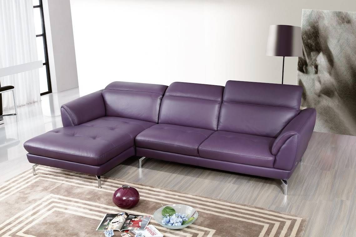 Top grain purple or off white sectional sofa tufted seats. Modern classic  design creates a