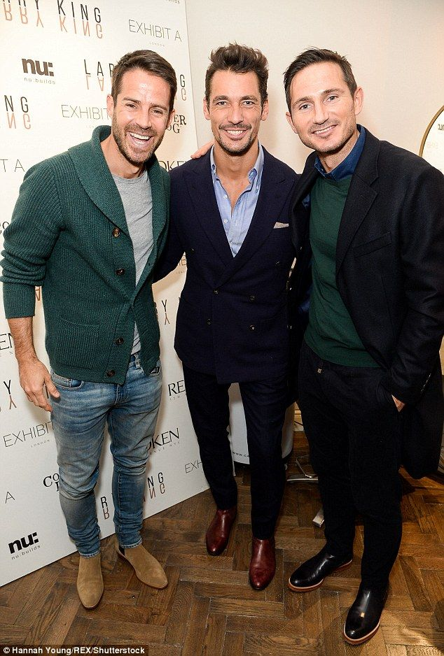 Boy time: Frank enjoyed a catch up with pals Jamie Rednapp and David Gandy at the launch