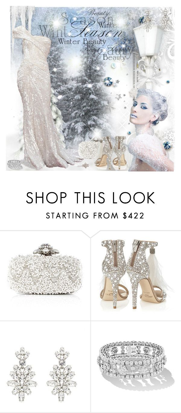 """""""winter Beauty"""" by prettyasapicture ❤ liked on Polyvore featuring Elie Saab, Jimmy Choo, Oscar de la Renta, women's clothing, women, female, woman, misses and juniors"""