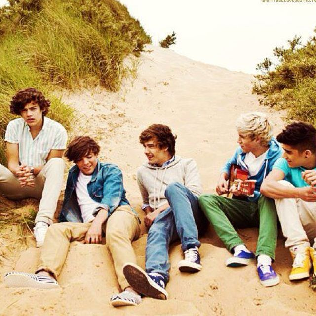 The One Direction lads on the beach at their album photo shoot :) <3 <3 <3 <3 <3