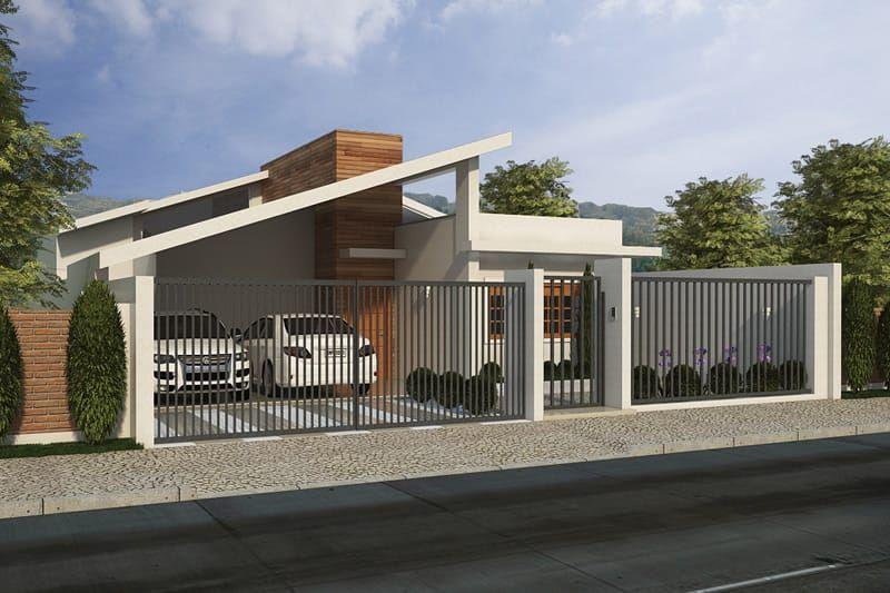 Plano de casa con garaje para dos coches fachadas for Garaje de coches