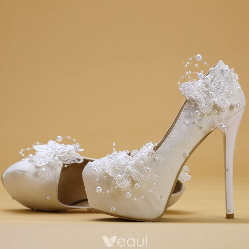 4438d0d2c8d Chic / Beautiful Ivory Wedding Shoes 2019 Butterfly Lace Flower ...