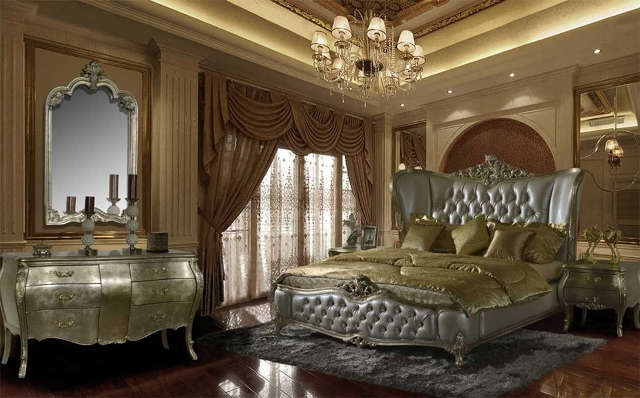 HD 200 Homey Design Silver Finish Bedroom Set Victorian, European Classic  And Traditional Design #