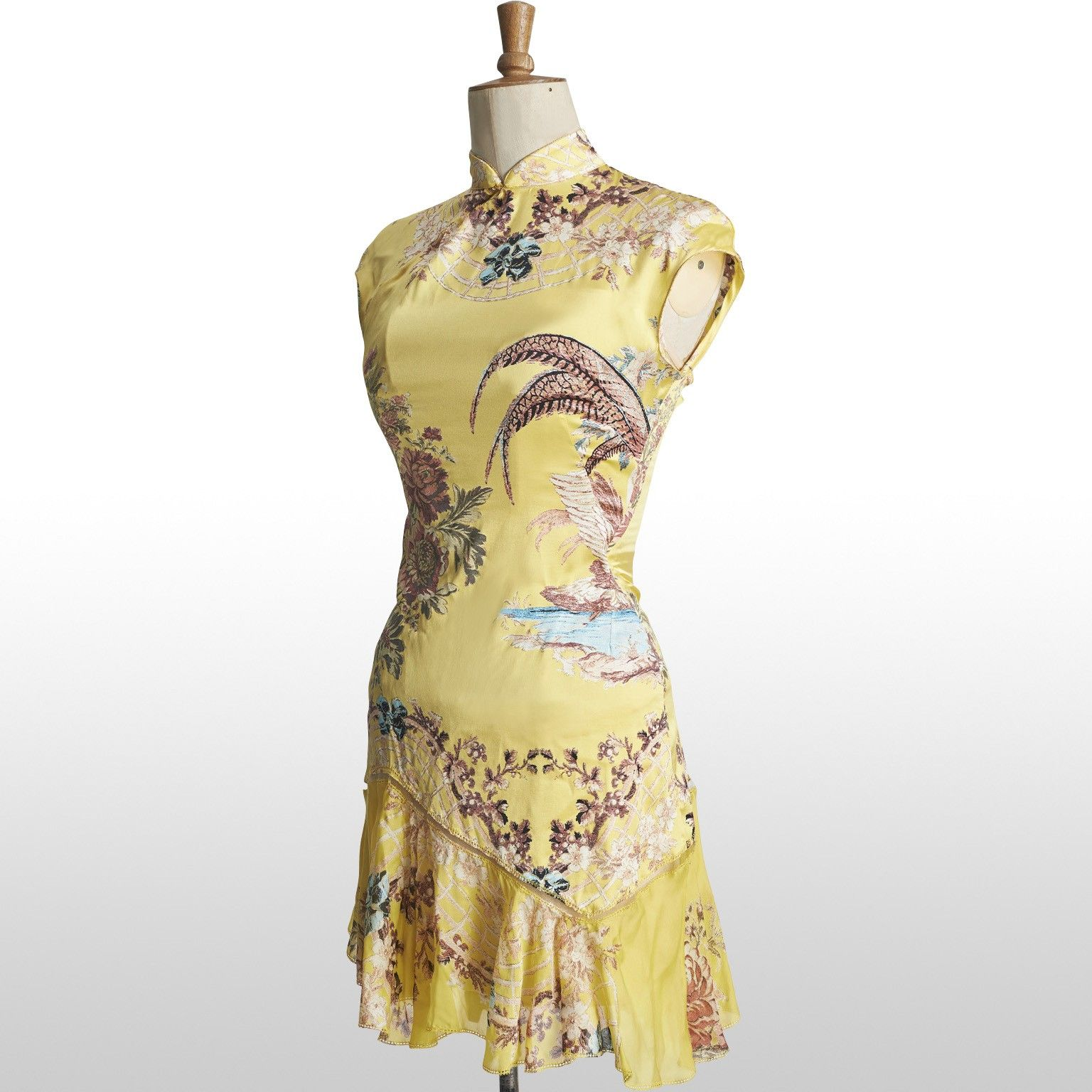 Roberto Cavalli (2003) Canary Yellow Silk Floral Chinoiserie Print ...