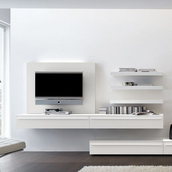 Love The Suspended Elevated Tv Unit Houses Electronics And Still Has Clean View Of Floor Wall Mounted Tv Unit Modern Tv Wall Wall Mounted Tv