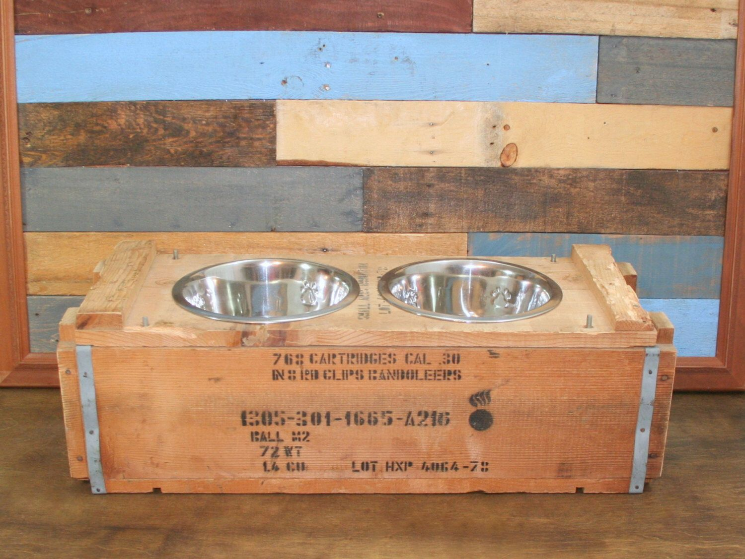 Ammo Crate Dog Feeder Repurposed Weapons Crate Pet Feeder Upcycle