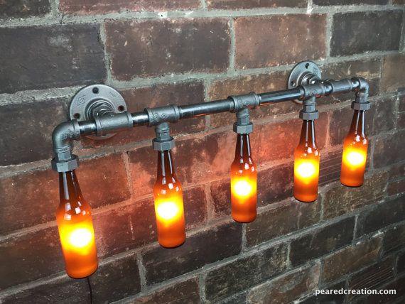 Wandlampe Badezimmer ~ Badezimmer vanity light industrielle möbel von newwineoldbottles