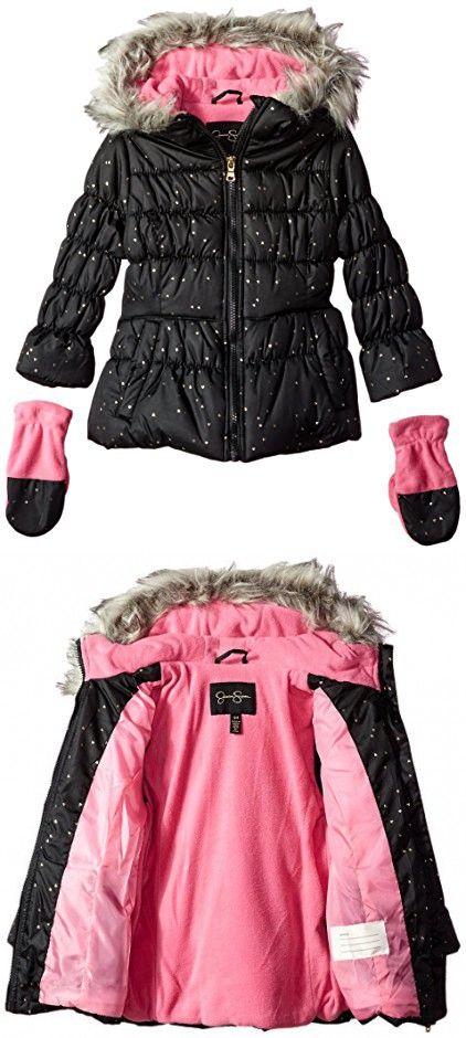 Jessica Simpson Girls Heavyweight Jacket with Cozy Hood Trim