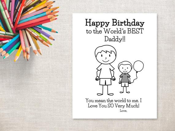 Birthday Coloring Printable Boy Dad Birthday Card To Daddy Etsy In 2021 Dad Birthday Card Birthday Cards For Mom Grandpa Birthday Card