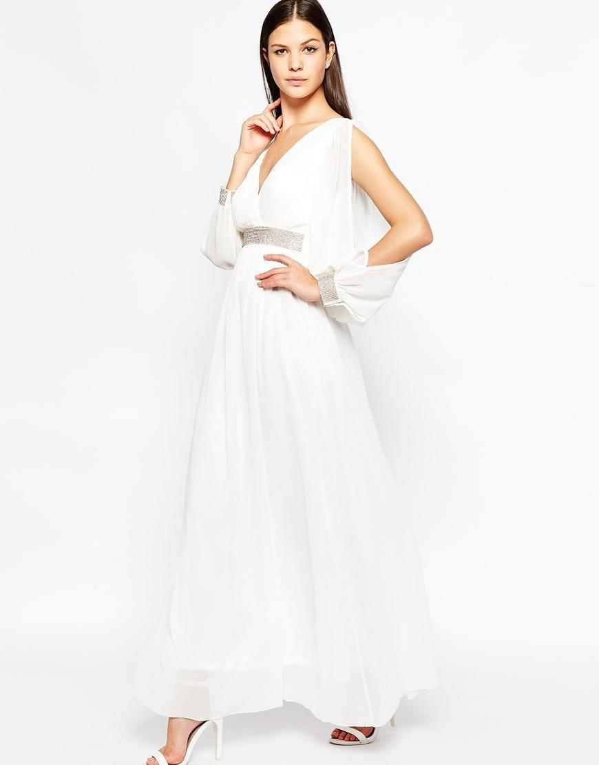 Club l club l long sleeve maxi dress with rhinestone trim detail