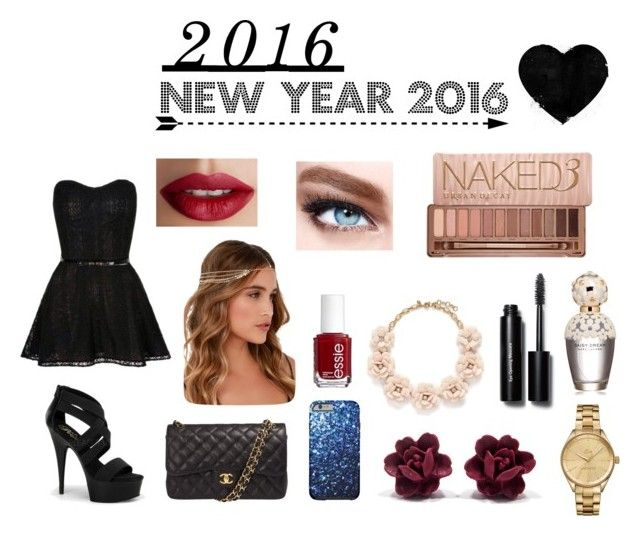 """New Year 2016"" by ellabarinque on Polyvore featuring Chanel, Lulu*s, Lacoste, J.Crew, Bobbi Brown Cosmetics, Marc Jacobs, Maybelline, Essie, TheBalm and Urban Decay"