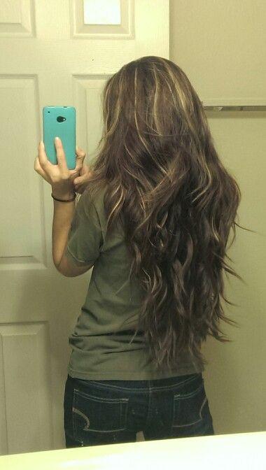 long brown brunette blond highlights