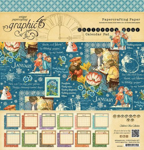 Single Papers Graphic45 Calendar Pads 8 x 8 UNIQUE DESIGNS scrapbooking 24