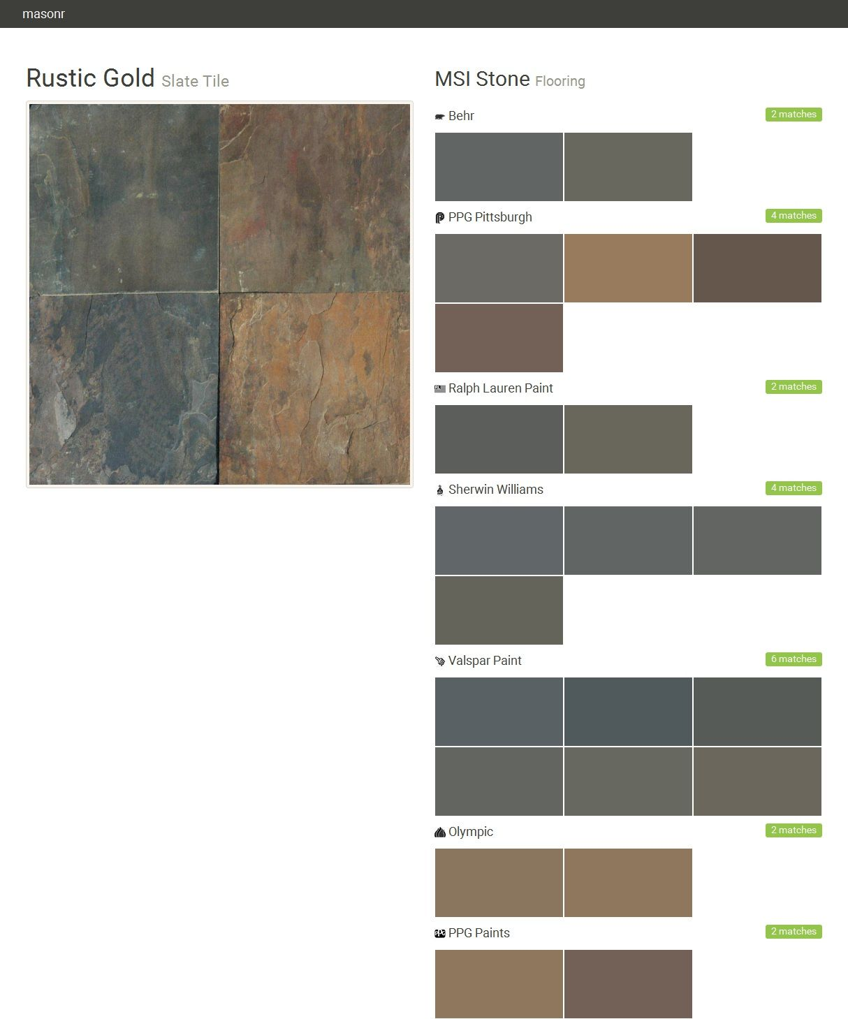 Rustic Gold Slate Tile Flooring Msi Stone Behr Ppg Pittsburgh