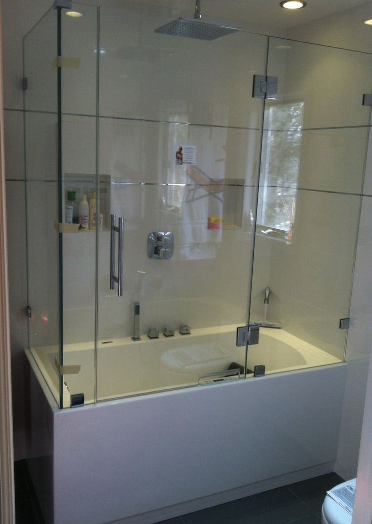 Sliding Frameless Bathtub Enclosure With Visible Tracks And Wheels For A  Contemporary Design. Description From Pinterest.com.