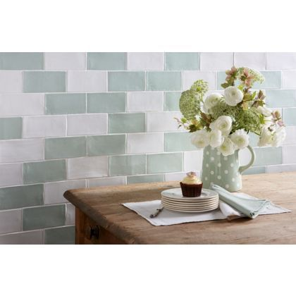 Kitchen Tiles Homebase laura ashley artisan eau de nil ceramic wall tile 22 pack | wall