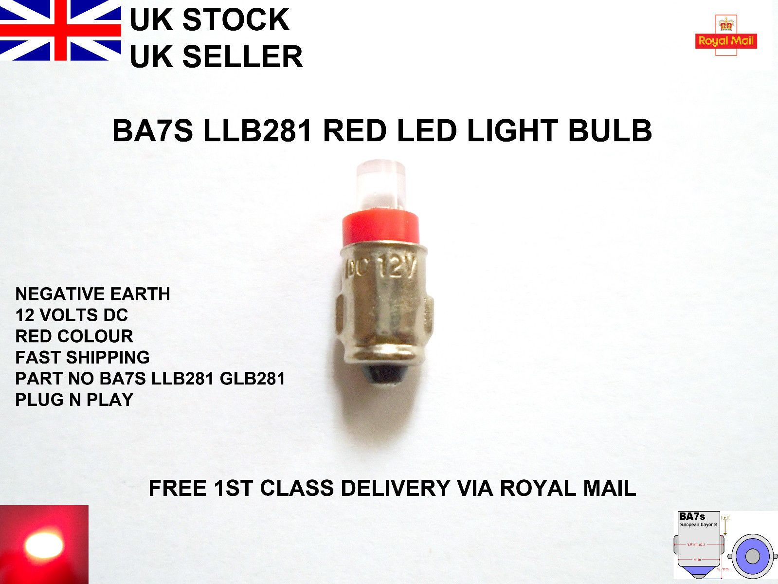 Ba7s 281 Car Led Bulbs Red Instrument Dials Dash Panel Gauges Lamp Llb281 12v Uk Ebay Bulb Light Bulb Bulbs For Sale