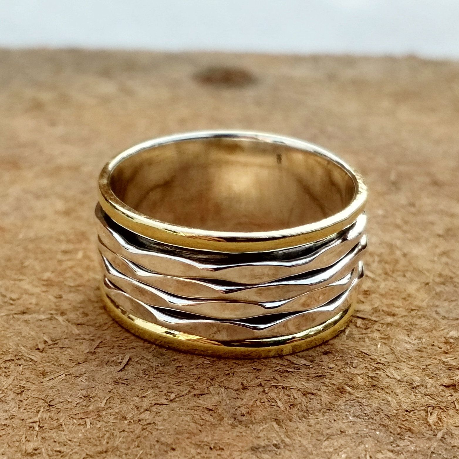Spinner spinning Ring Two Tone Ring Spinner Ring Anxiety Ring Spinning Ring Handmade Jewelry Fidget Ring Thumb Ring Meditation Ring
