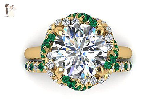 14k Yellow gold Emerald Diamond Engagement rings set, FO Moissanite Engagement and wedding Rings set, Braided Halo Ring, Designed By Irina. - Wedding and engagement rings (*Amazon Partner-Link)