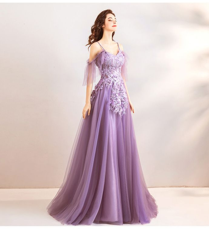 78cbf000a4 Spaghetti Strap Lavender Tulle Long Prom Dress A Line Embroidery Beaded  Formal Evening Dress Floor Length Prom Gowns by prom dresses