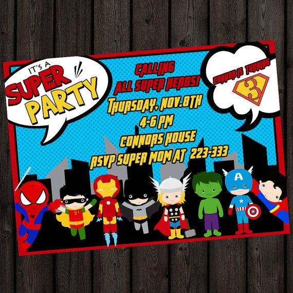 Super Hero Avengers Birthday Party Supplies By AmysSimpleDesigns - Avengers birthday invitation wording