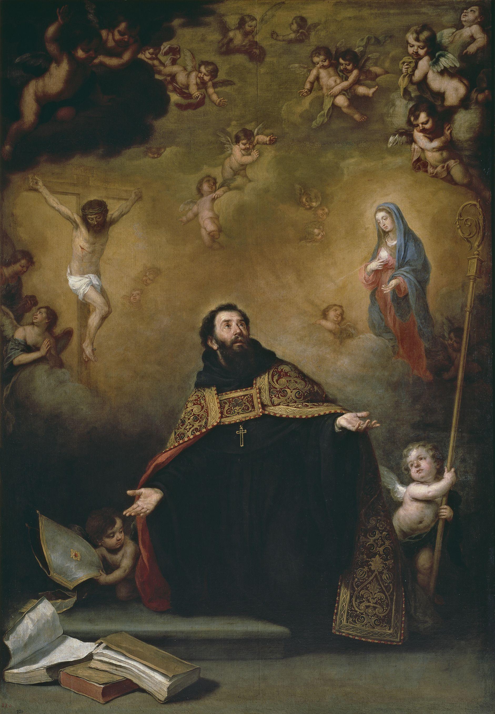 San Agustín entre Cristo y la Virgen - Por Bartolomé Esteban Murillo - Museo del Prado
