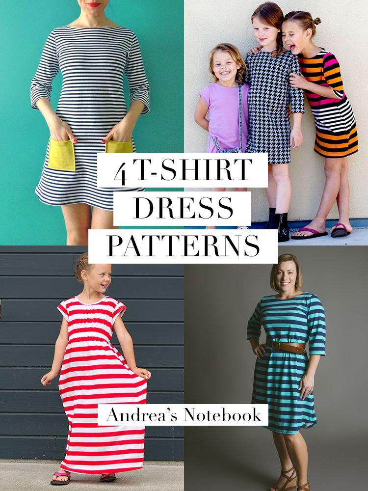 4 T-Shirt Dress Patterns for Girls and Women. I heart ...
