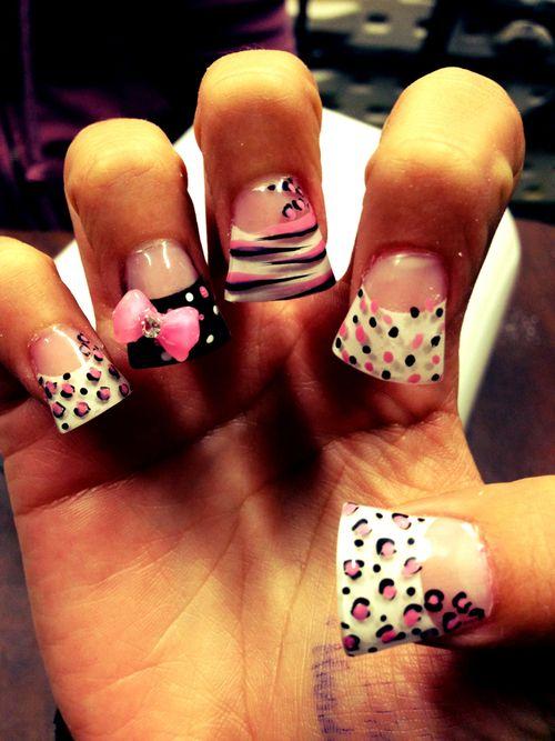 black and white cheetah 3d nail art   acrylic nails ...