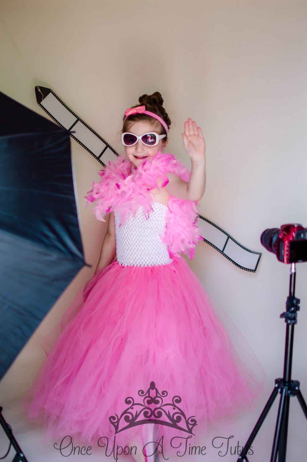 hollywood movie star tutu dress - hot pink and white pageant gown