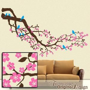 Over 8 Feet Cherry Blossom Tree Branch With Birds