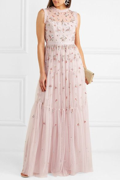 Rainbow Ditsy Embellished Tulle Gown - Pink Needle & Thread 8kTw0T3t